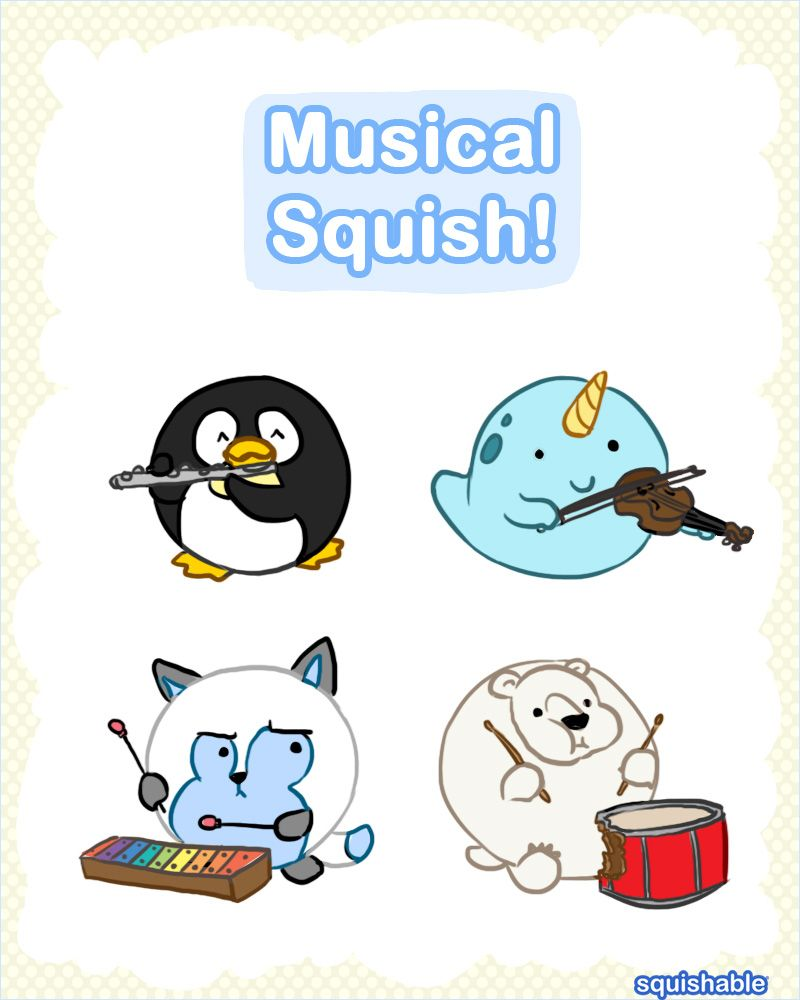 Musical Squish Cute Squishable Plush Art Penguin Narwhal