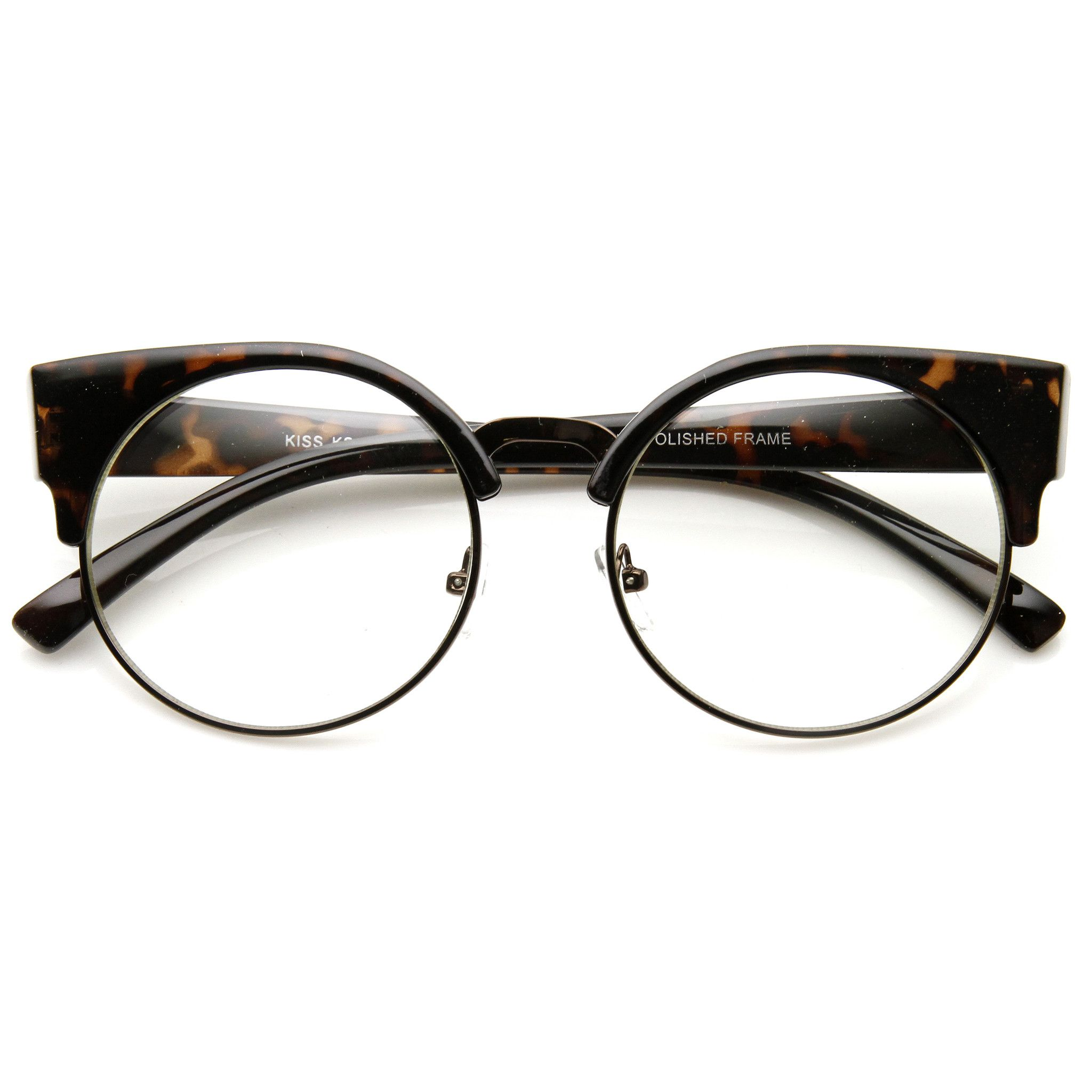 Indie Hipster Round Cat Eye Clear Lens Half Frame Glasses 9351 ...