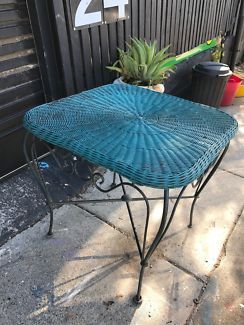 Shabby Chic Cane And Metal Table