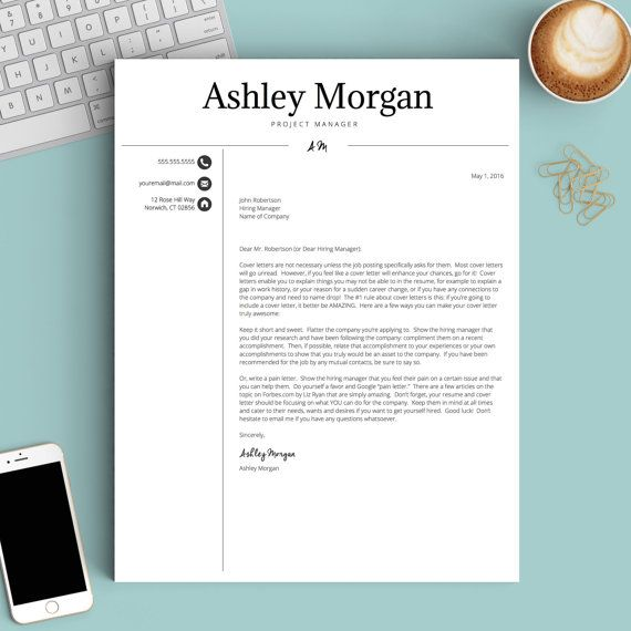 Professional Resume Template for Word \ Pages 1, 2 and 3 Page - how to make a cover page for a resume