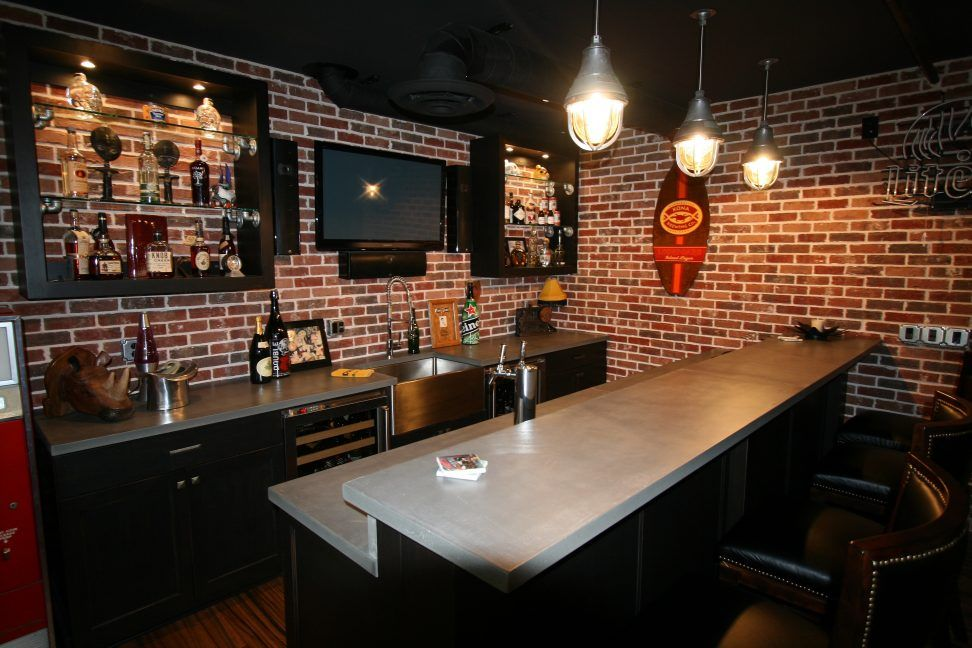 Interior Awesome Basement Bars Ideas Featuring Rectangle Shape