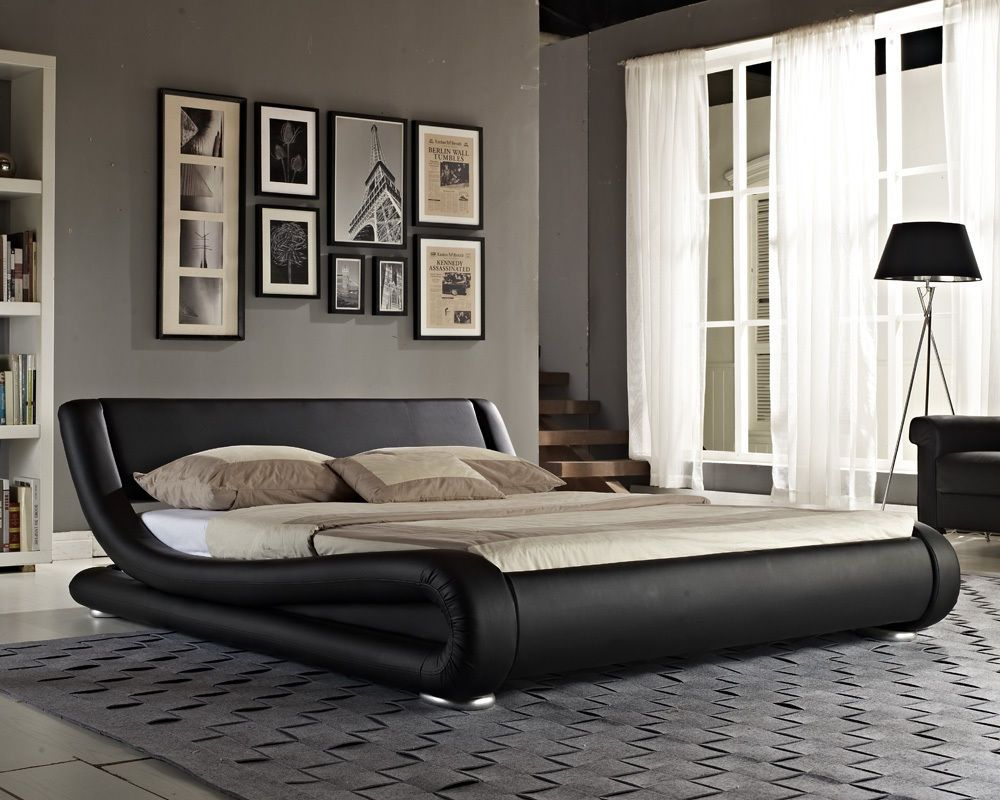 Double Bed Faux Leather King Size Frame Modern Italian Designer And Mattress