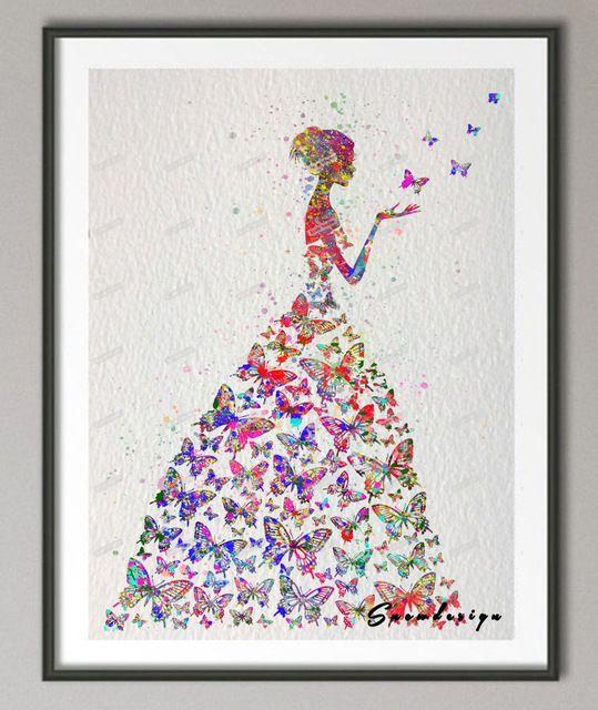 Original Aquarelle Papillon Fille Mur Art Toile Peinture Affiche