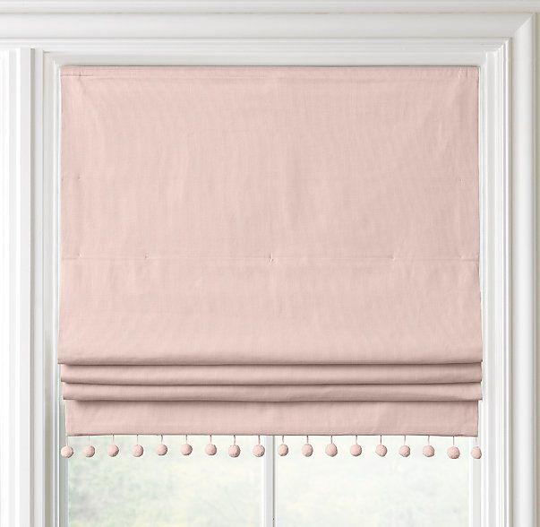 Pom Pom Linen Cotton Roman Shade In 2019 Pink Roman