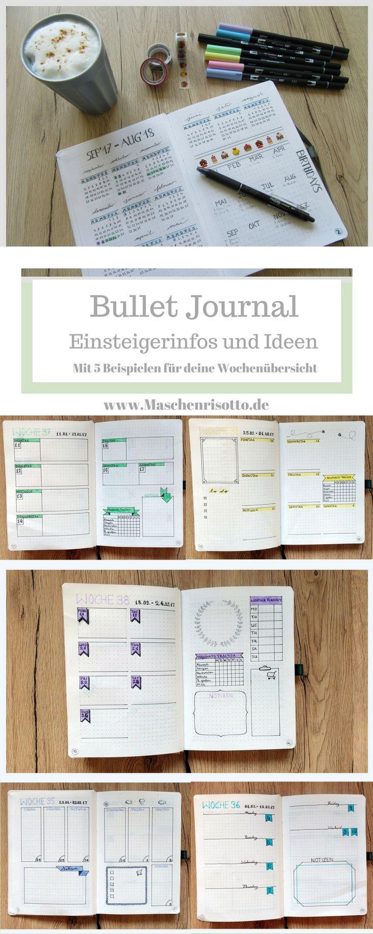 Bullet Journal - Tipps und Ideen für Einsteiger - mit 5 Designbeispielen für dein Wochenlayout    #bulletjournal#bulletjournalideas #bujo#bujoideas #weeklylayout #journaling
