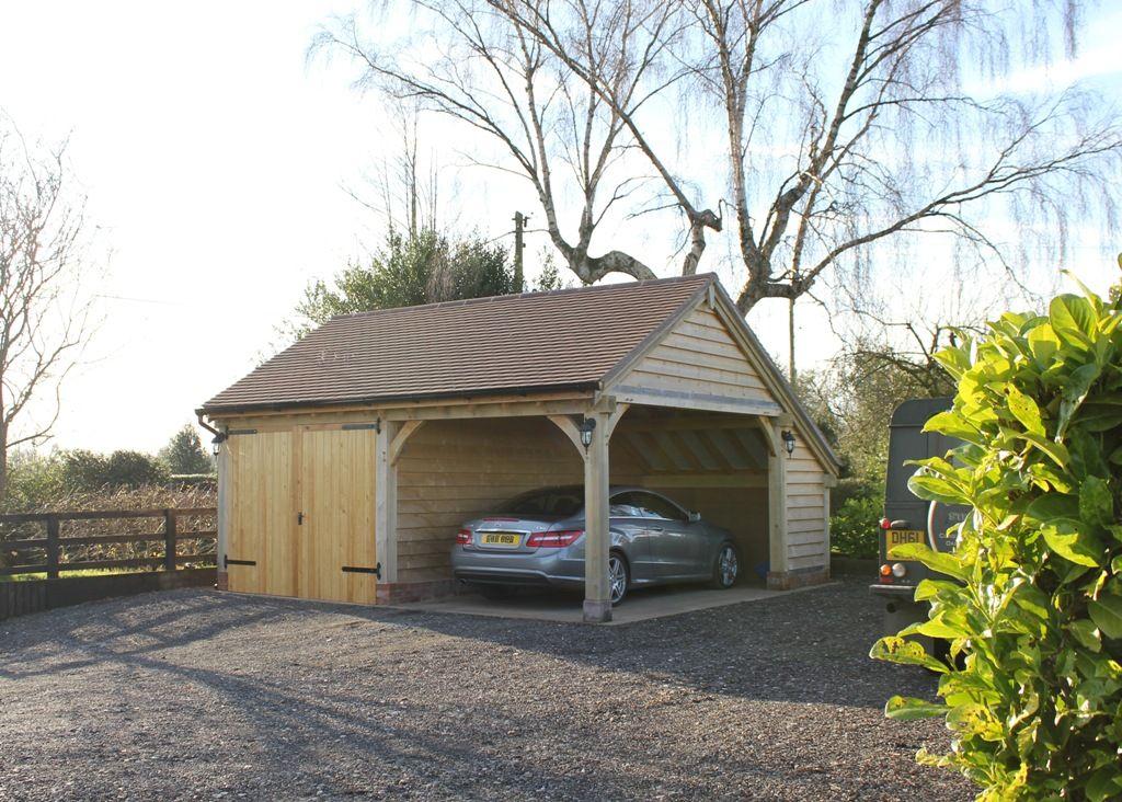 Bespoke Version Of Our Oak Framed Garage With An Open Side For Summer Dining Timber Garage Wooden Garage Backyard Sheds