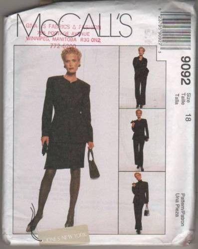 9092 Sewing Pattern McCall's Ladies Jacket Shirt Pants Skirt 18