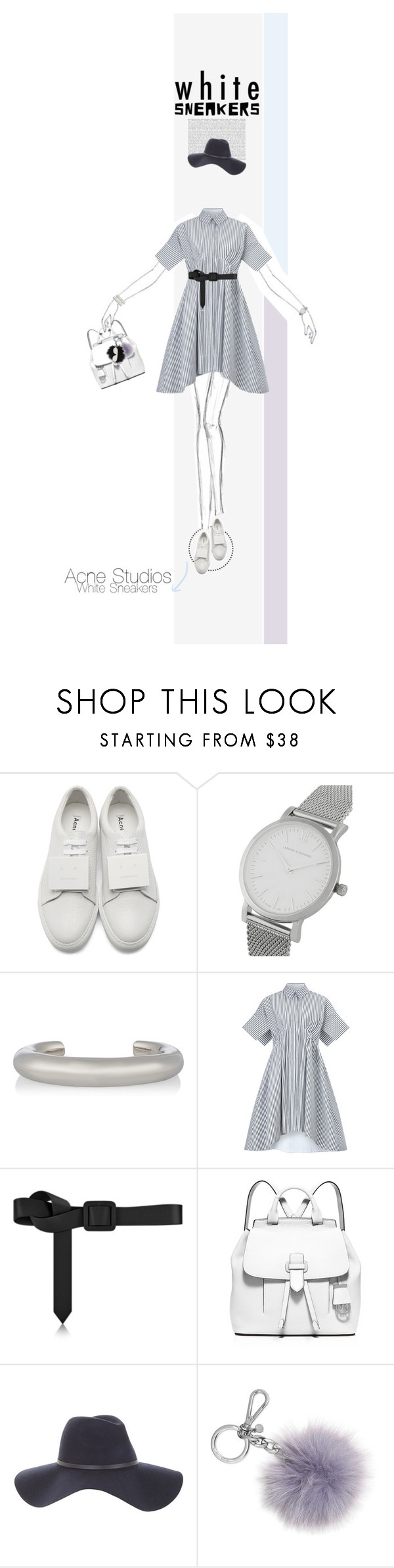 """White Sneakers"" by poison-iivy ❤ liked on Polyvore featuring Acne Studios, Larsson & Jennings, Jennifer Fisher, Victoria, Victoria Beckham, MICHAEL Michael Kors, BCBGMAXAZRIA, Michael Kors and whitesneakers"