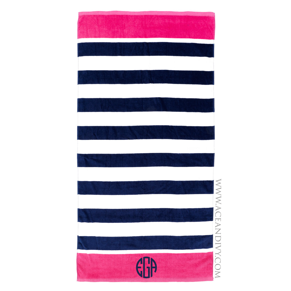 Monogrammed Beach Towel Navy Stripe Monogrammed Beach Towels