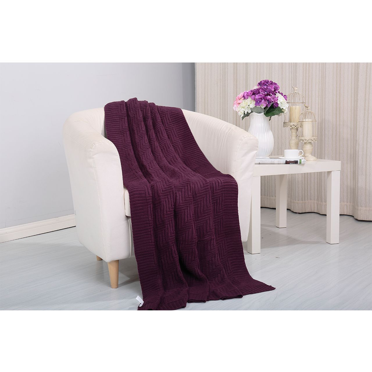 Pietra Knitted Throw Couch Cover Sofa Blanket 50x60