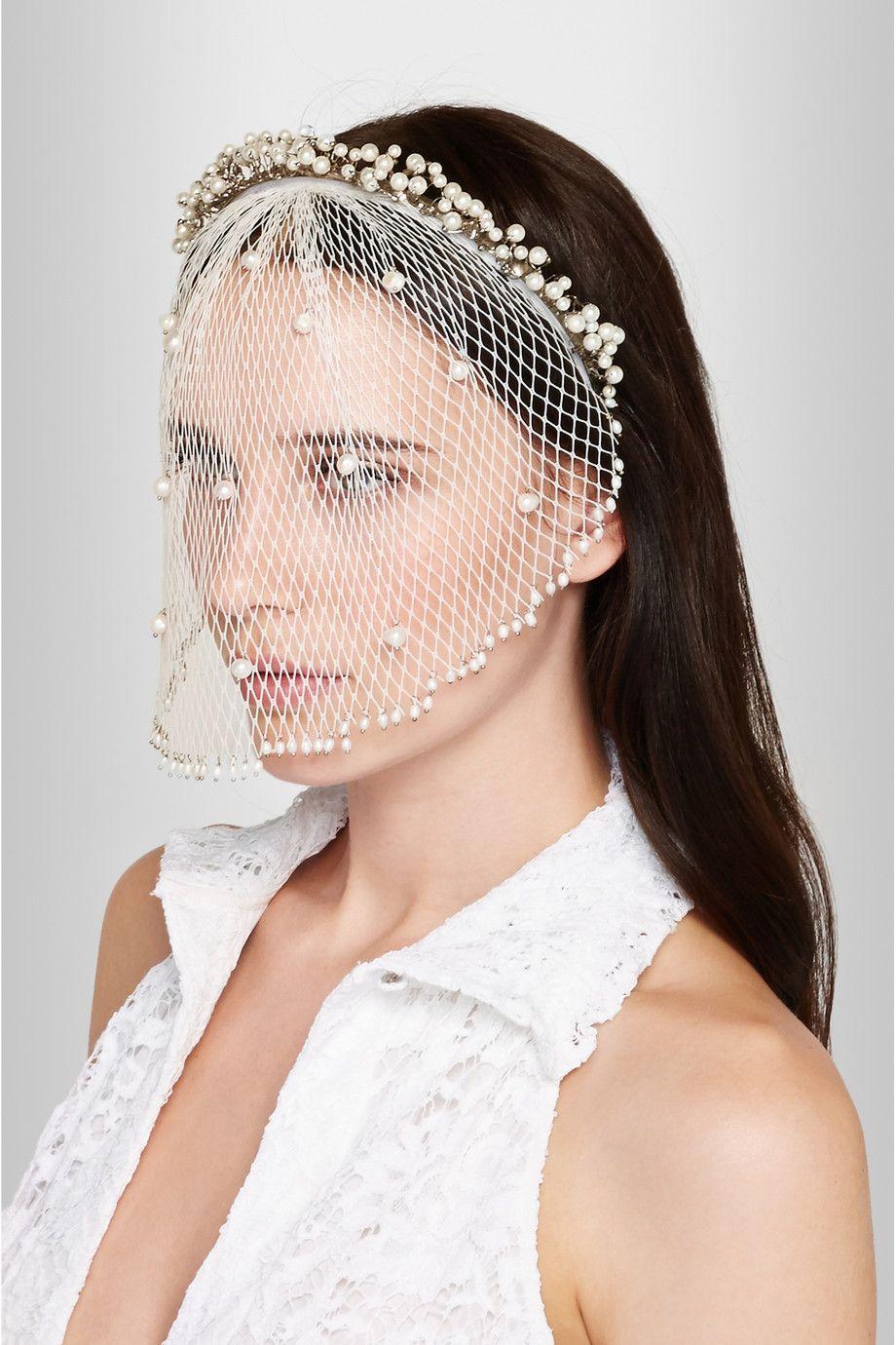 ROSANTICA Bouquet palladiumtone freshwater pearl headband wedding