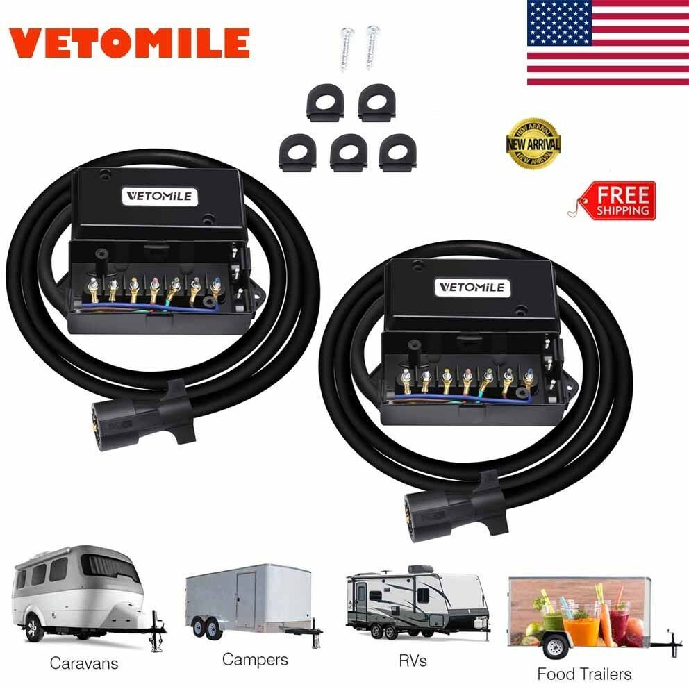 sponsored ebay 2x trailer plug cord 7 way junction box 8ft harness inline truck [ 992 x 992 Pixel ]