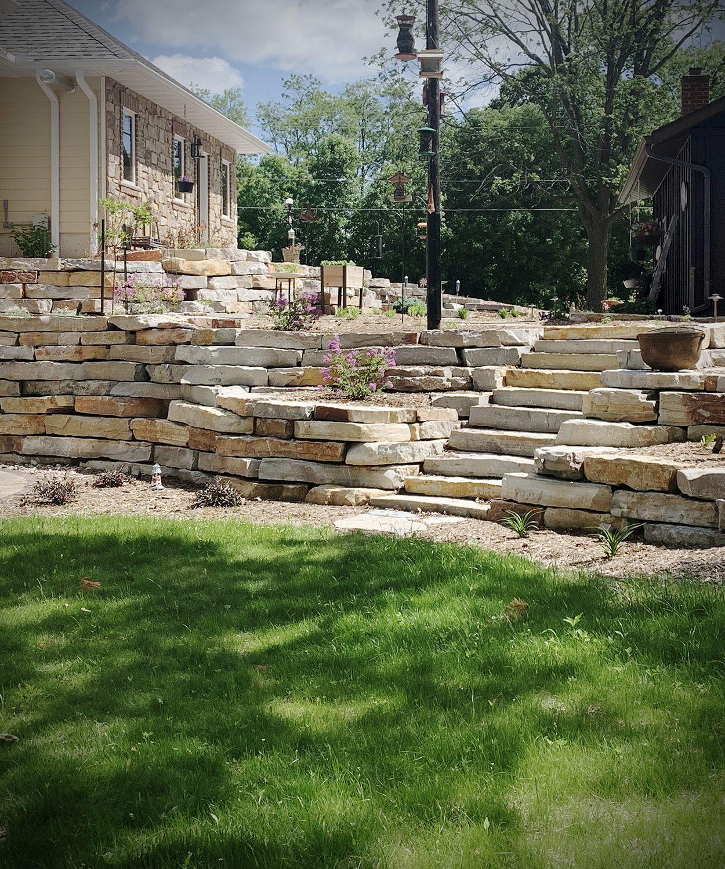 Chilton Stone Outcroppings Retaining Wall Stone Steps Landscape Design Hardscape Backyard Outdoor Stone Landscape Stone