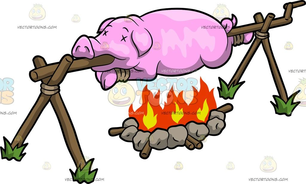 a pig roasting over a fire cartoon clipart pig roast rh pinterest com  cartoon pig roast clip art