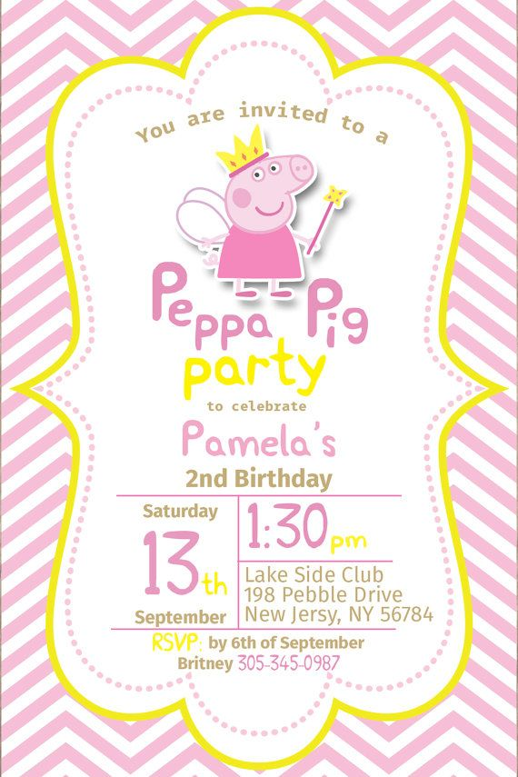 Peppa Pig Invitation Peppa Invite Peppa Pig By Nampartydesign