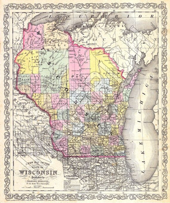 Vintage State Map - Wisconsin 1856 See how Marathon County has ...