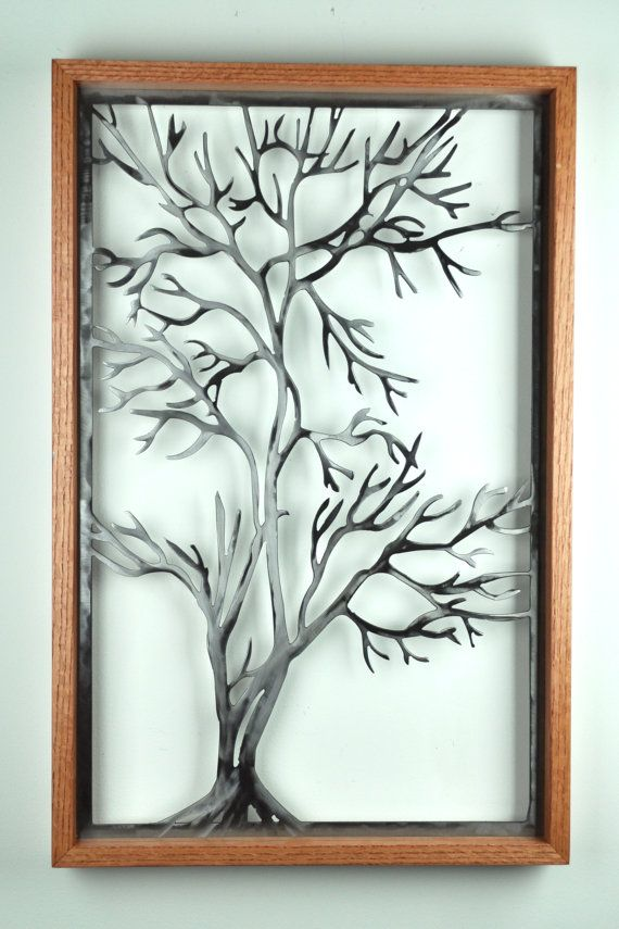 Leafless tree wall hanging, metal wall art, wood wall art, wood and ...