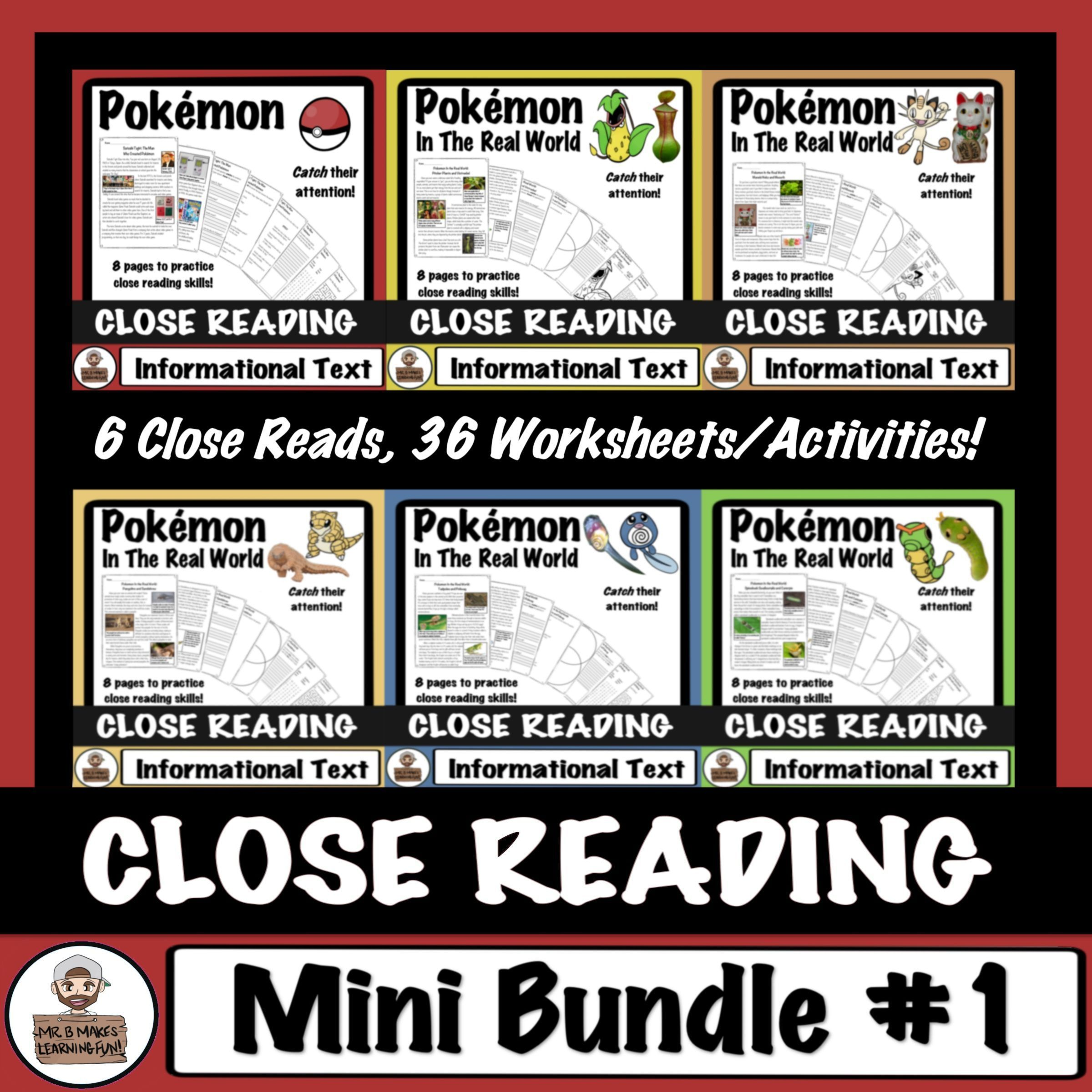Pokemon Close Reading Passages And Comprehension