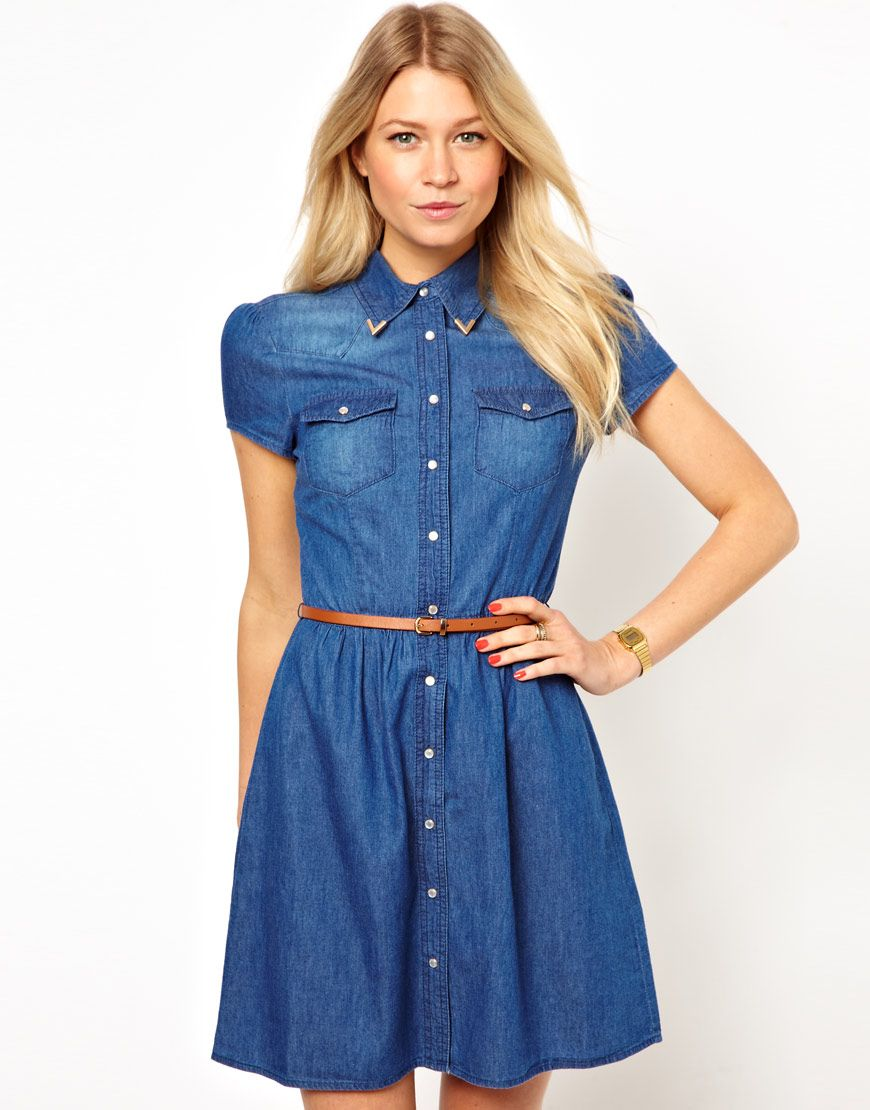 25 Best Denim Dress For Women | Denim skater dress, Oasis shorts and ...