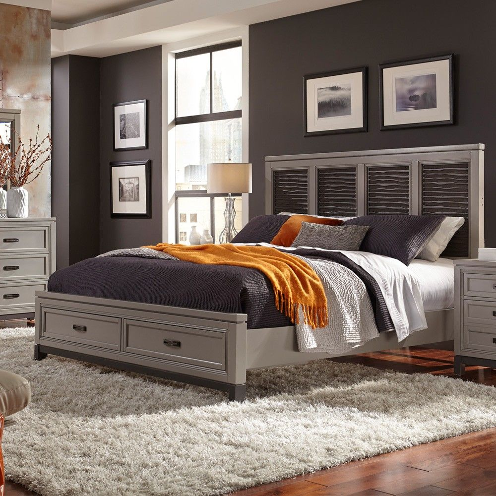 Hyde Park Wood Fret Panel Storage Bed in Grey by Aspenhome