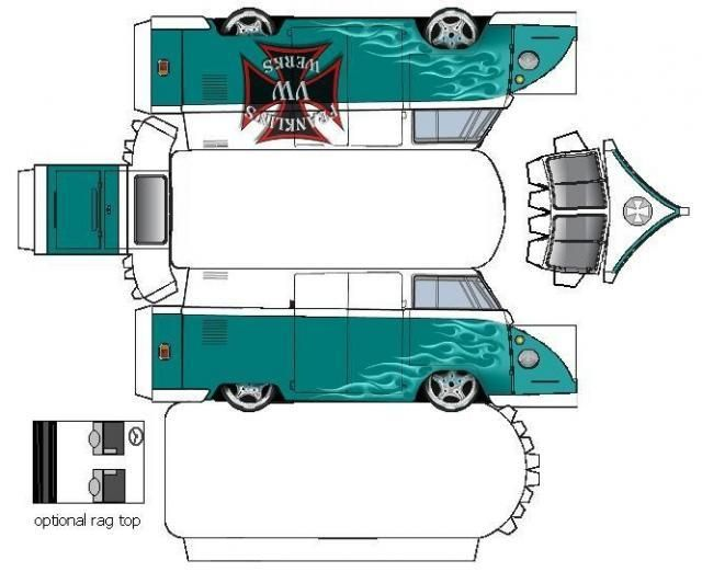 bastelbogen vw bus t1 bastelideen bastelbogen basteln. Black Bedroom Furniture Sets. Home Design Ideas