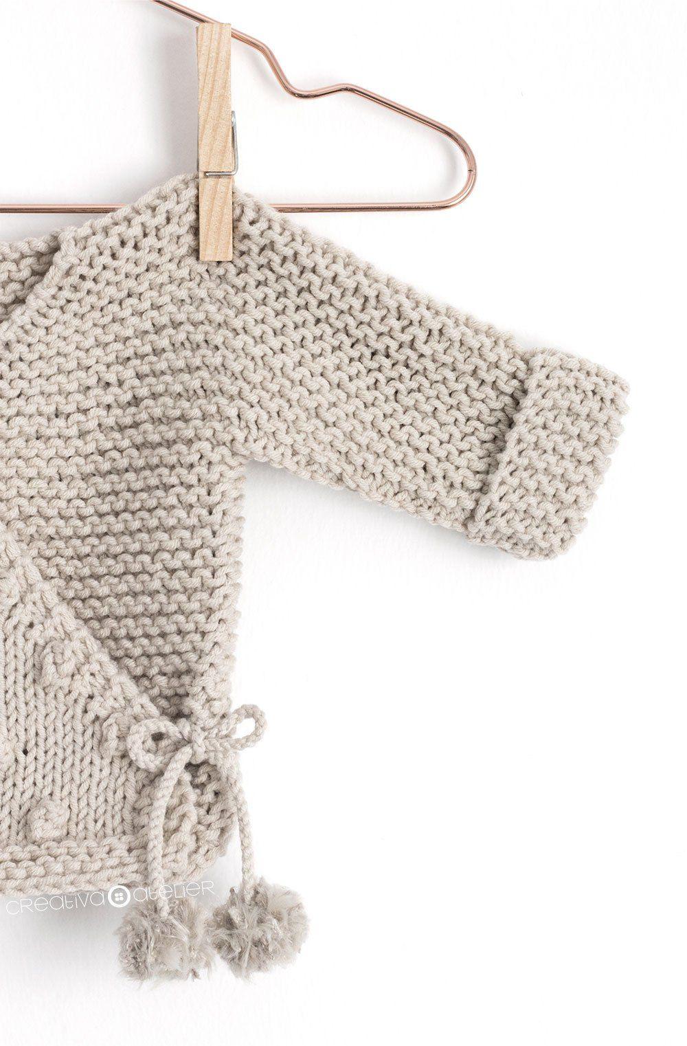 Kimono de Punto para Bebé [ Tutorial y Patrón GRATIS ] | Punto a dos ...