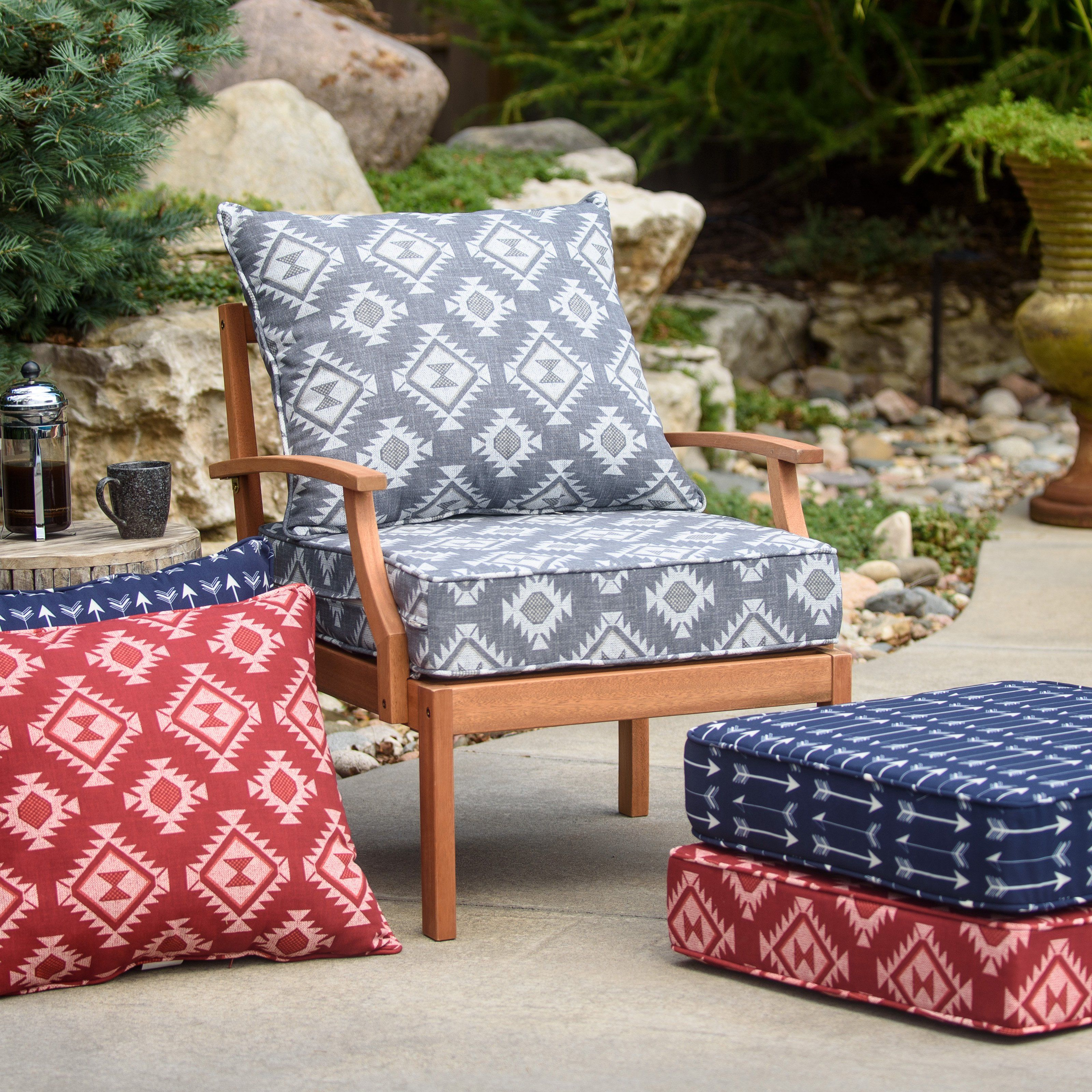 Coral Coast Southwest Outdoor Aztec Pattern Deep Seating Seat Cushion From Hayneedle Com Deep Seat Cushions Deep Seating Patio Cushions