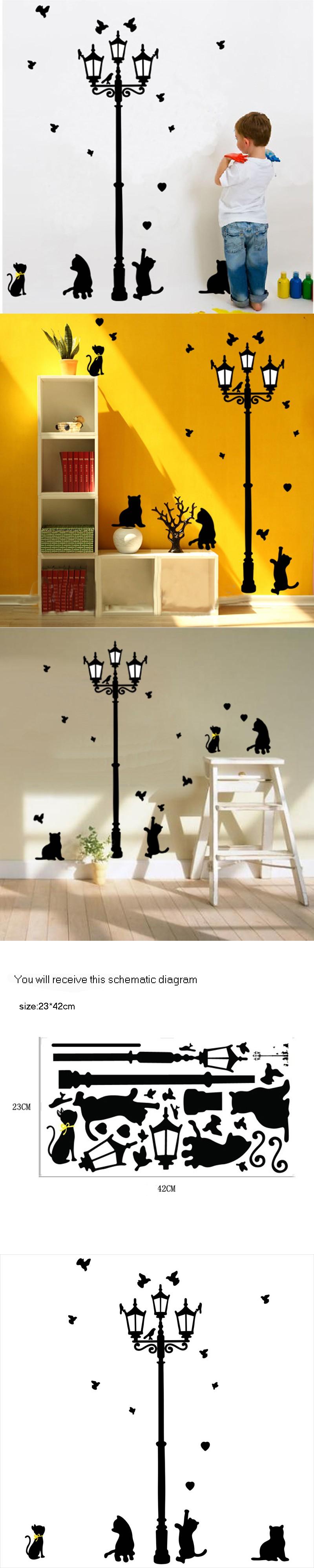 Cats Birds Street Light Lamp Post Wall Stickers Home Decoration Wall Decals  Kids 3D Vinyl Wall