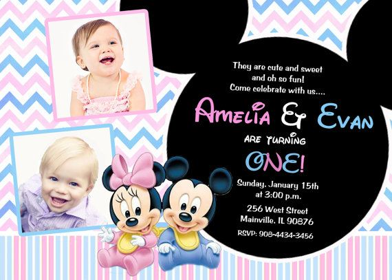 Minnie mouse mickey mouse baby one twins first birthday party minnie mouse mickey mouse baby one twins first birthday party invitation digital file filmwisefo Images
