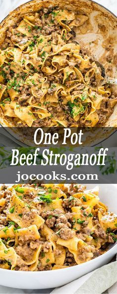 One Pot Beef Stroganoff is a simple weeknight meal. With mushrooms and beef in a creamy rich sauce with egg noodles this dreamy dish is packed full of flavor and yumminess. #beefstroganoff #onepot