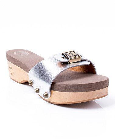 Love this Silver Metallic Melanie Leather Slide on #zulily! #zulilyfinds