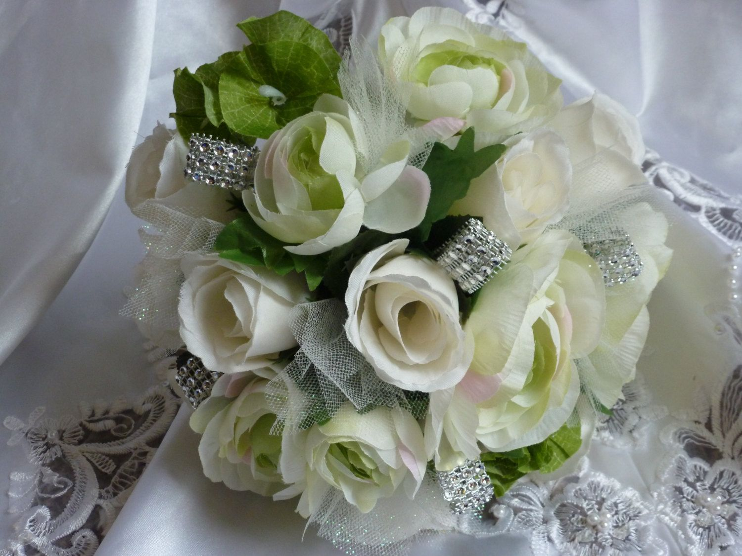 Ivory Rose Bouquet with Light Green ranunculus and Bells of Ireland by JulieWilliamsSilks on Etsy