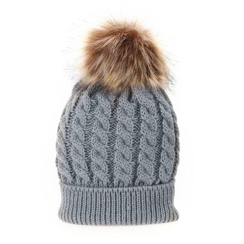 Winter Infant Toddler Baby Kids Knitted Hat Kids Cap Wool Fur Pompom Ball UK