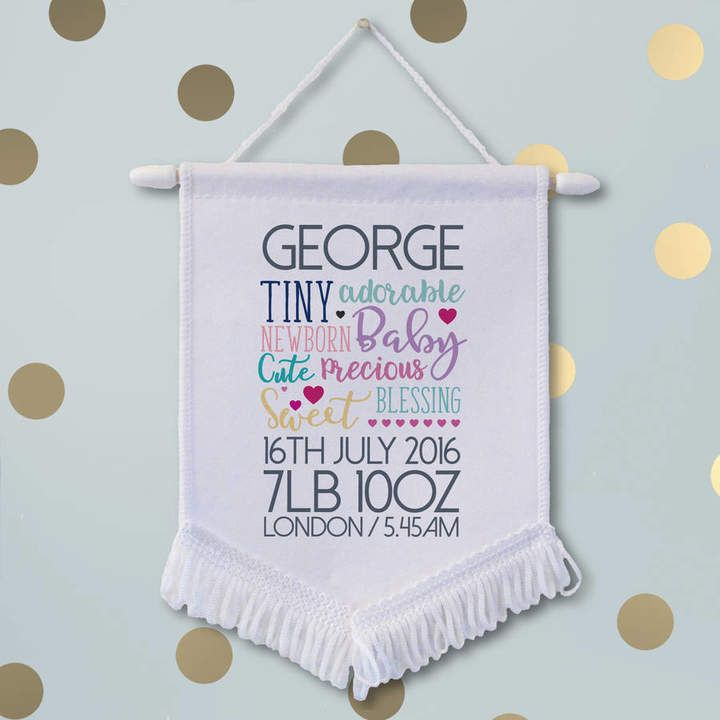 Sarah Hurley Personalised New Baby Banner - ShopStyle Kids Décor