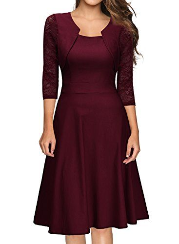 6c576284545 Damen Abendkleid Elegant Cocktailkleid Vintage Kleider 3 4 Arm mit Spitzen  Knielang Party Kleid Weinrot Gr.M