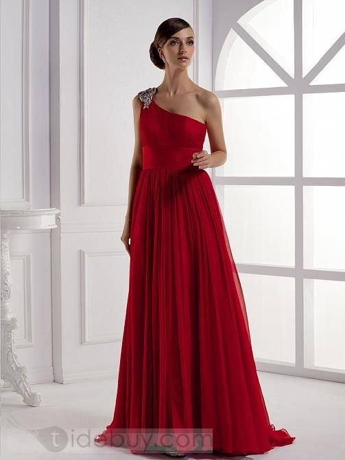 Elegant A Line Floor Length One Shoulder Promevening Dress