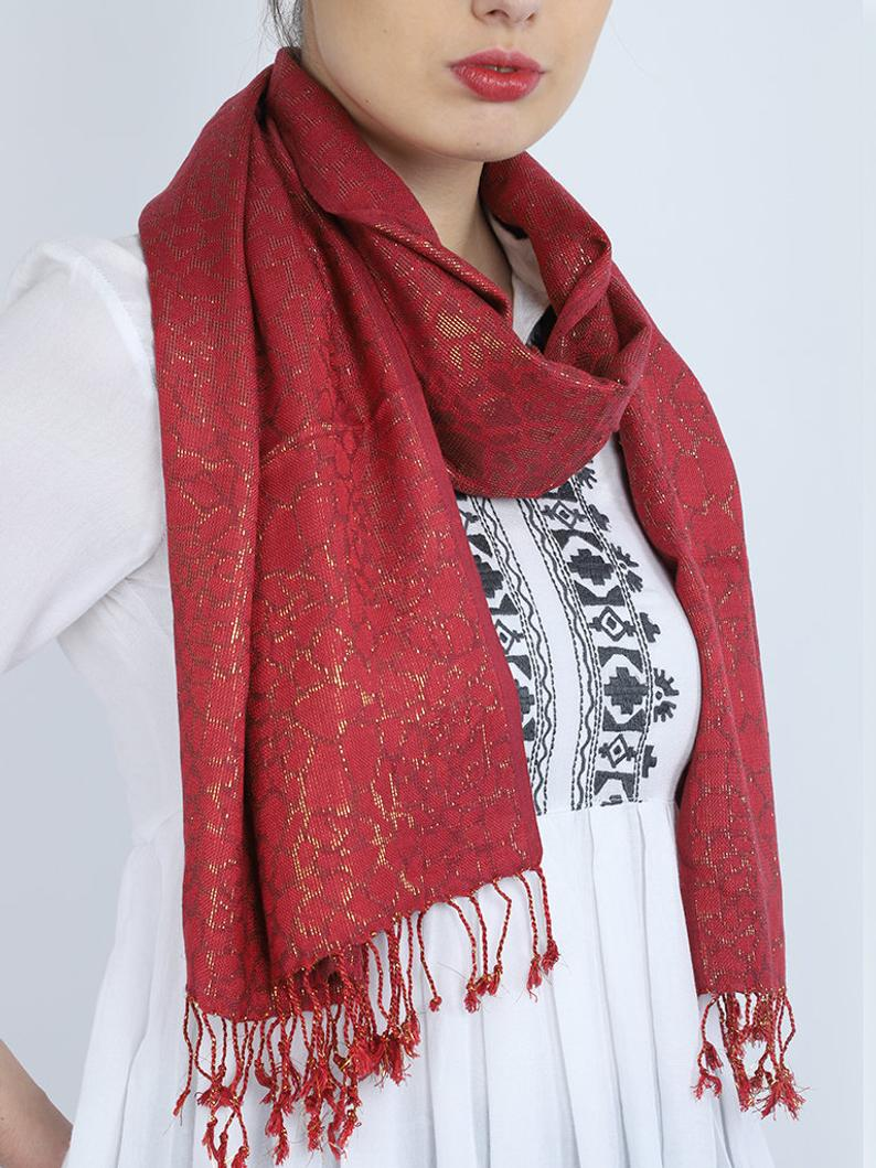 Maroon Long Scarf Women Accessory Scarves Indian Rayon