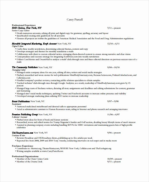 Copy Of A Resume Format Beautiful Sample Copy Editor Resume 7 Free Documents Download In Pdf Word In 2020 Free Resume Samples Resume Format Resume