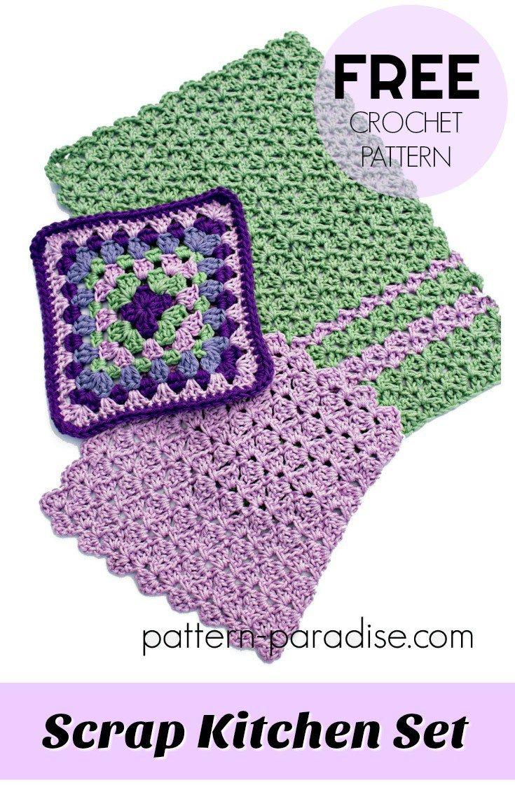 Free Crochet Pattern: Scrap Kitchen Set | Pattern Paradise | CROCHET ...