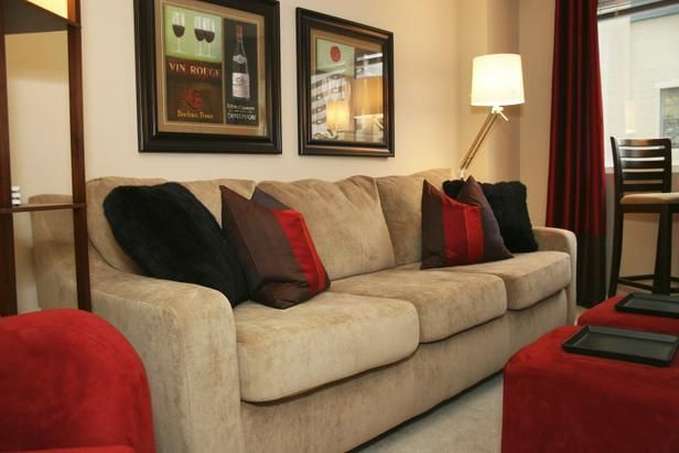 Red And Tan Living Room