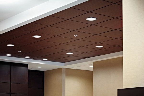 Wooden Acoustic Ceiling Tiles Recessed Lighting Sound