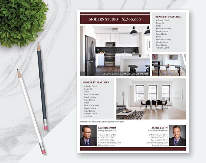 Real Estate Flyer Template   Photos  Single Sided  Pages