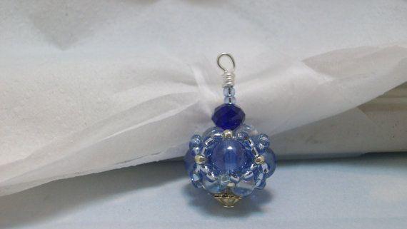 Blue crystalFocal  beadjewelry making by Braceletsbymaryle on Etsy, $8.00