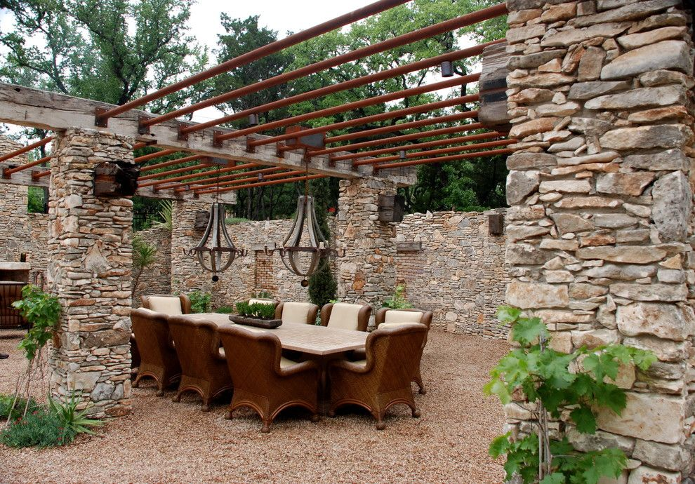 Good Rustic Stone Patio Ideas Patio Rustic With Trellis Garden Seating