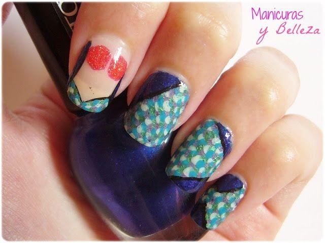 Mermaid nails nail art / Manicura con las uñas de sirena