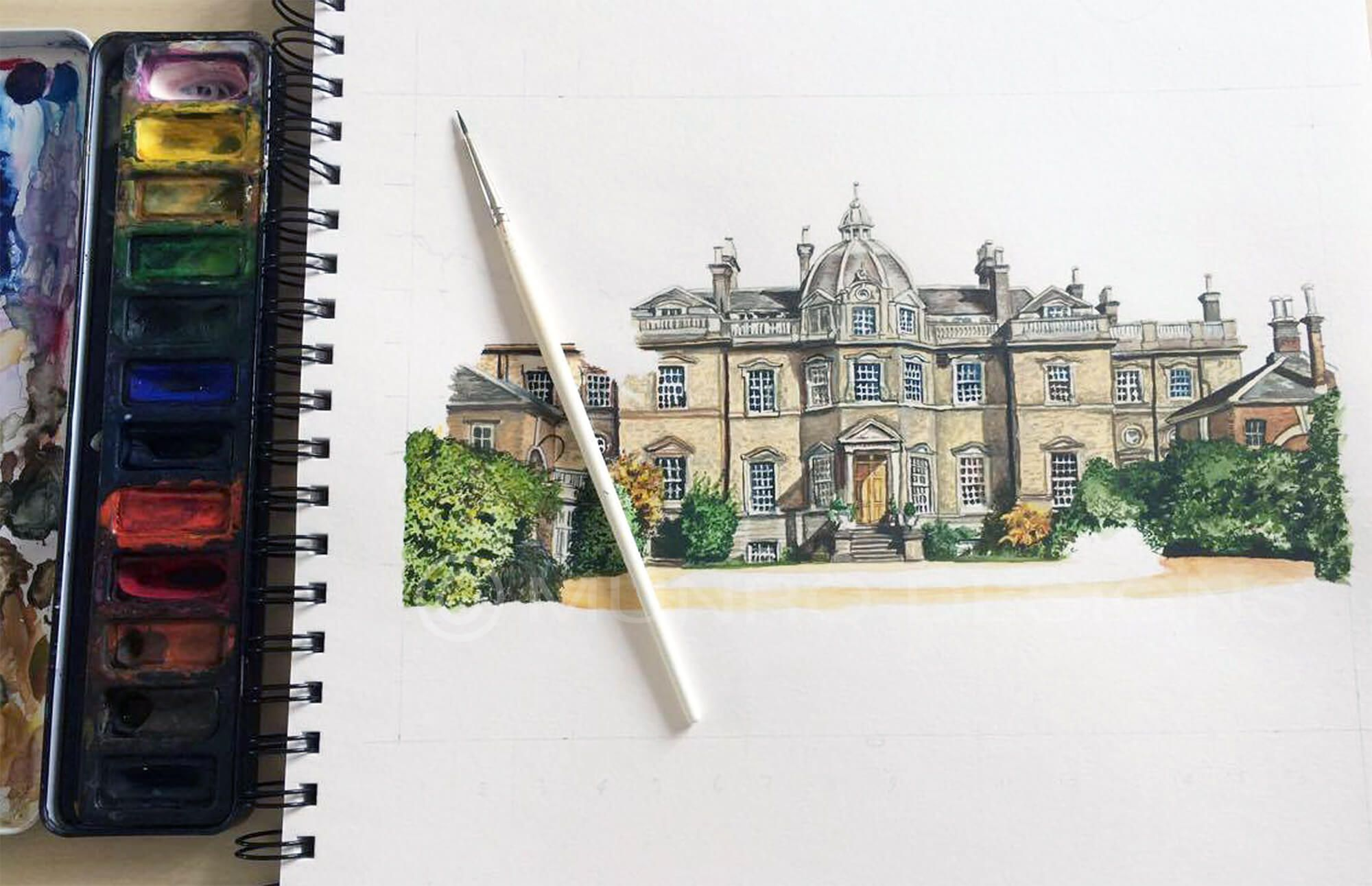 MUNRO DESIGNS BESPOKE PAINTING - Hampton Court House, Wedding Present from the bride to the groom