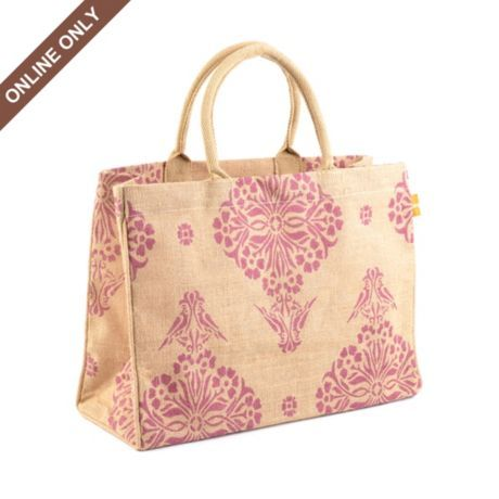 Purple Indian design jute tote bag.(comes in green design and white design, also.) As you can see it is only available online from Kirkland's ----fifteen dollars