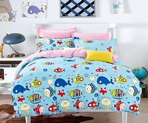 Amazon Com Cliab Ocean Bedding King For Boys Adventure Fish Pink And Blue Bed Sheets 100 Cotton 7 Pieces Blue Bed Sheets Duvet Bedding Sets Blue Bedding Sets