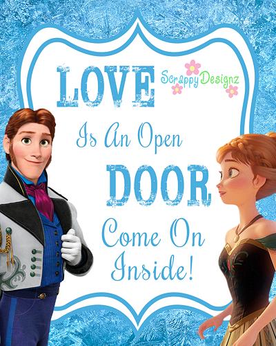 Printable Frozen 8 X 10 Poster Love Is An Open Door Frozen Diy Frozen Inspired Printables