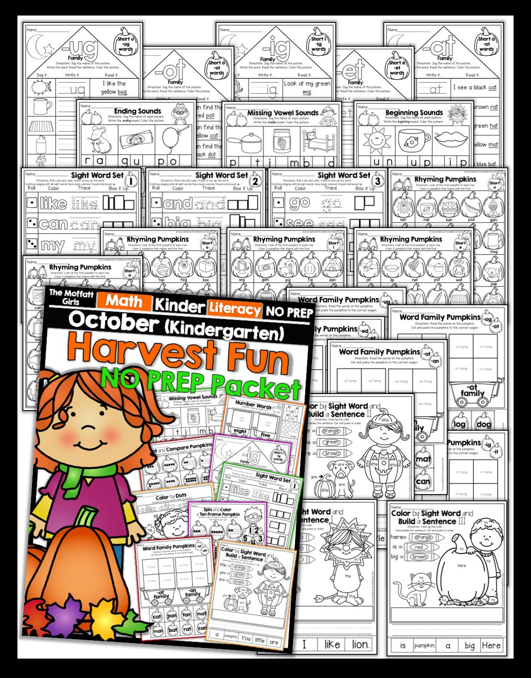 October No Prep Packets For Kindergarten Tons Of Hands On